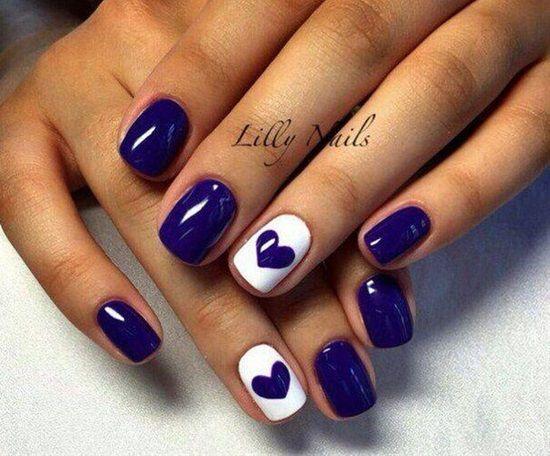 White & Bright Blue Lacquers Nail Design