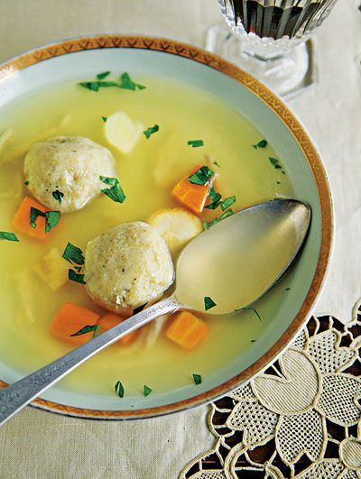 Matzo Ball Soup_  This classic Passover recipe is served as the first course of the seder meal in Jewish homes all around the world. This version comes from Renee Renner, a home cook in the Bronx, New York, who adds seltzer to the matzo balls to ensure that they turn out light and airy.