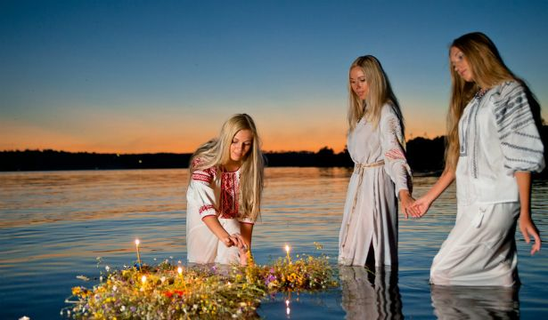 Kupala Night, also known as Ivan Kupala Day, is celebrated in Ukraine, Belarus and Russia currently on the night of 6-7 July in the Gregorian or New Style calendar, which is 23-24 June in the Julian or Old Style calendar still used by many Orthodox Churches. http://en.wikipedia.org/wiki/Kupala_Night