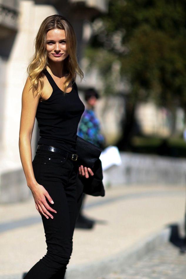 Le Fashion Blog Model Off Duty Paris Street Style Edita Vilkeviciute All Black Classic Summer Look Wavy Hair Tank Top High Waisted Jeans Via Style Bistro