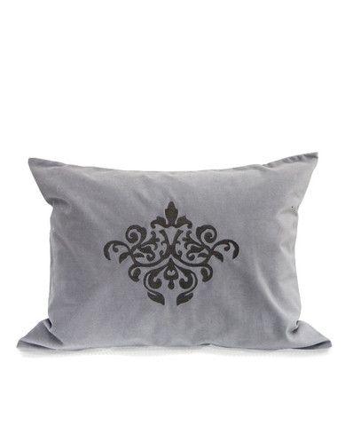 Velvet Grey/Slate Cushion   Au Lit Fine Linens