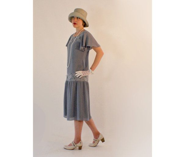 Feminine 1920s dress in grey chiffon and by HouseOfRecollections