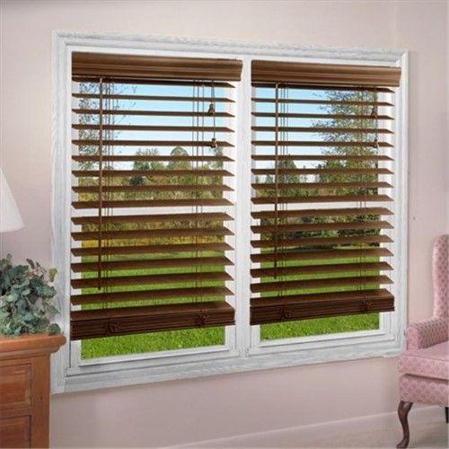 Dez Furnishing Qado334360 2 Inch Faux Wood Blind Dark Oak 33 5 W
