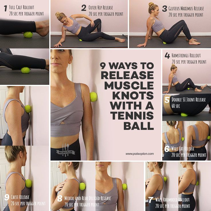 9 Easy Ways To Use A Tennis Ball To Release Muscle Knots Massage Ball Exercises Muscle Knots Massage Ball