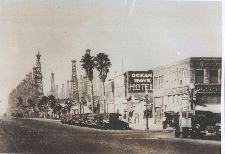 HUNTINGTON BEACH, CALIFORNIA: Old photo of PCH and Main, Huntington Beach, CA.