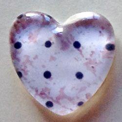 Cabochon in vetro a cuore, fantasia a pois su sfondo rosa variegato #GlassCabochon #charms #DIY #bijoux #cuore #pois