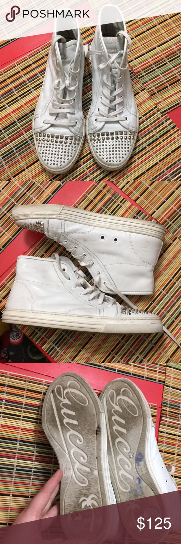 Gucci California sneakers size 40 Gently worn Gucci California hi top sneakers size 40. These are gently worn so please look through the photos. Price is negotiable. No studs are missing from the toes as well. Gucci Shoes Sneakers
