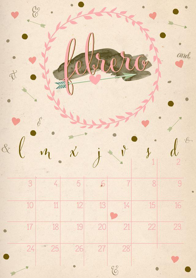 imprimible: calendario febrero