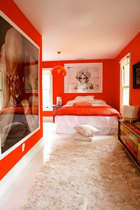Crazy Bright Orange Bedroom
