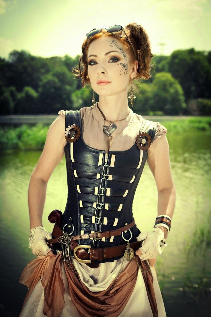 Steampunk Girl In Leather Bodice - skirt, gloves, jewelry, face tattoo??