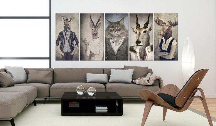 Unique, controversé et original - voici le tableau qui vous laissera bouche bée :) #tableau #tableaux #5panneaux #art #chambreadolescent #poursalon #animaux #stylé #original #musthave #idéecadeau #bimago
