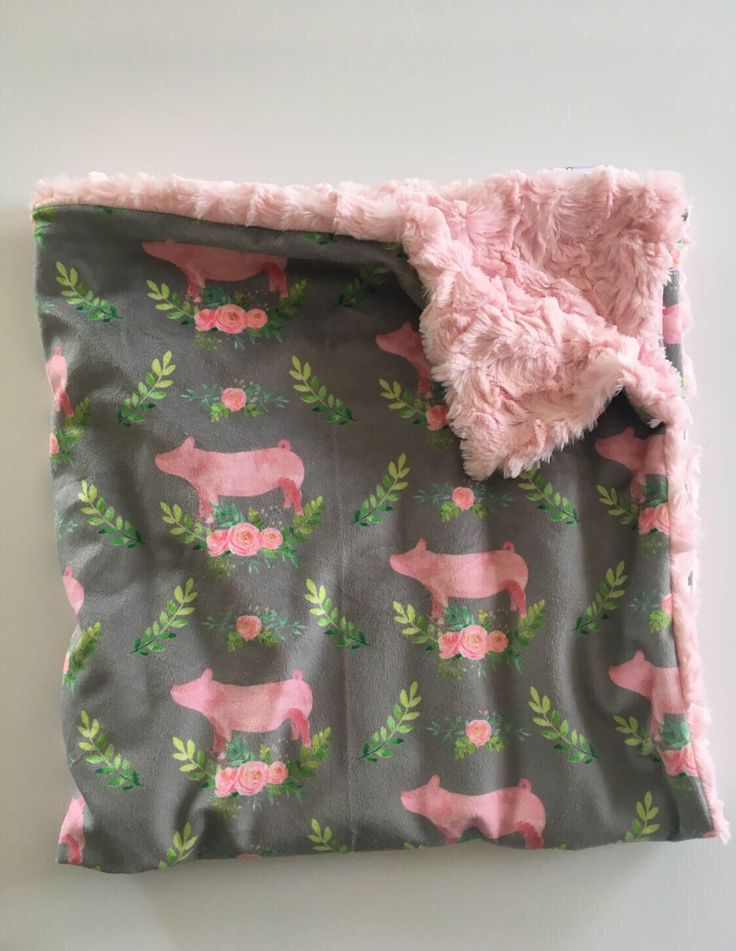 Pig Minky Baby Blanket- pig floral nursery, double minky, modern blanket, girl baby shower gift, dwell darling baby bedding by DwellDarling on Etsy https://www.etsy.com/listing/519659527/pig-minky-baby-blanket-pig-floral