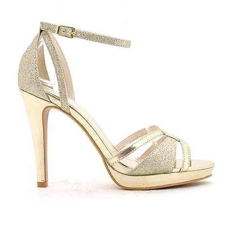 SERENA heel in gold/glitter.