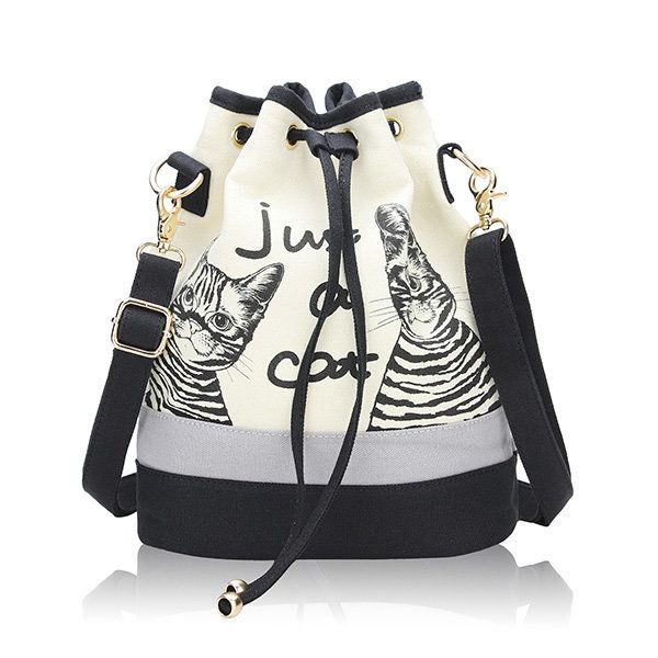 Women Canvas Cat Bucket Drawstring Backpack  Crossbody Bag