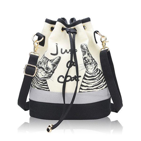 Women Canvas Cat Bucket Drawstring Backpack  Crossbody Bag