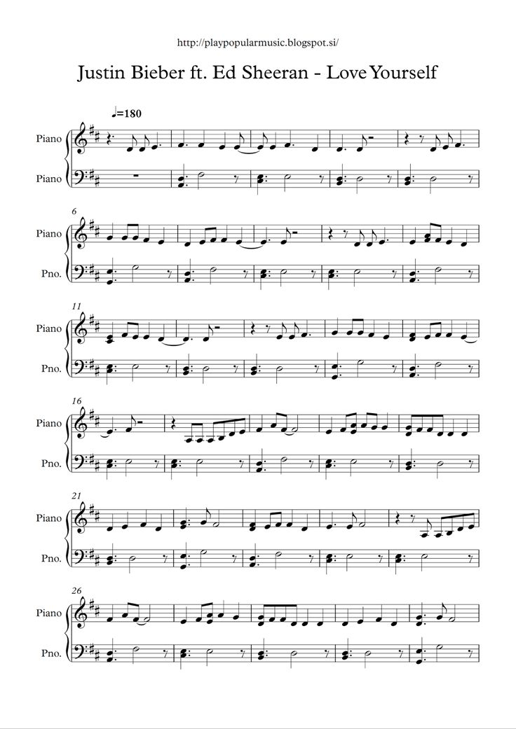 Free piano sheet music :  Love_Yourself – Justin Bieber ft. Ed Sheeran.pdf     My favourite sentence from the lyrics is:  Was I a fool to l...