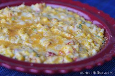 Hot Corn Dip   Our Best Bites: Fun Recipes, Football Seasons, Party Dips, Baking Potatoes, Dips Recipe, Appetizers, Hot Corn Dips, Sweet Corn, Chee Dips