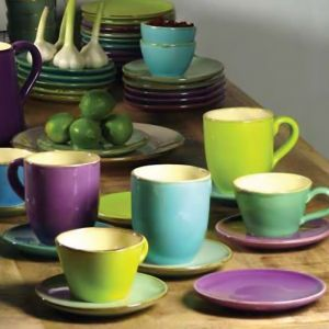 Italienische Keramik Dessertteller / Untertasse in 6 Farben