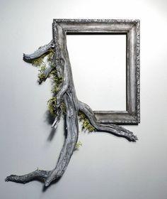 bilderrahmen selber machen treibholz kreative ideen wanddeko wandgestltung silber matt moos