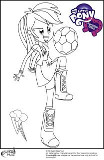 mlp equestria girl rainbow dash playing football coloring pictures