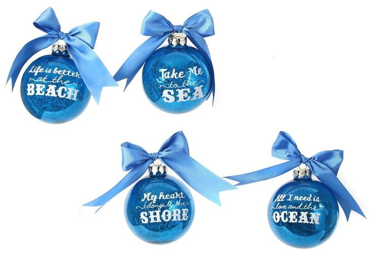 Glass Beach Sea Shore Ocean Sayings 4 Inch Blue Holiday Ornaments Set of 4 #DennisEast