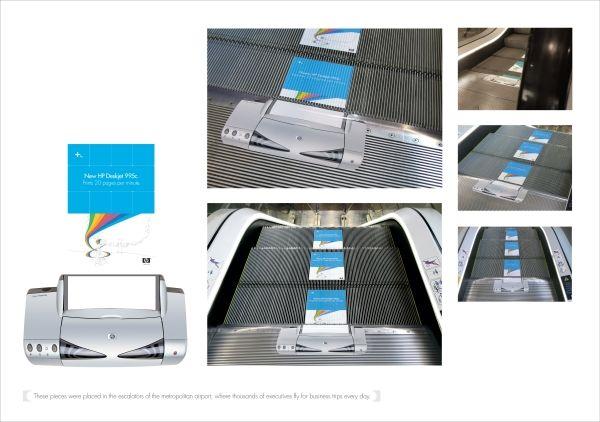 Reklamiranje firme HP i proizvoda štampača: gazišta pokretnih stepenica iznose odštampani papir  Hewlett-Packard - HP je Američka multinacionalna kompanija koja proizvodi softver i hardver, pored ostalog hardvera proizvodi i stone štampače, sedište je u Palo Alto-u, California, SAD, web sajt je http://www8.hp.com/rs/sr/home.html.  Ovo reklamiranje firme Hewlett-Packard je trebalo tržištu Argentine da predstavi izlazak najnovijeg Photosmart Deskjet 995 c štampača.  Reklam  www.sajtoteka.com