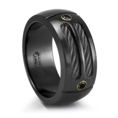 Midnite Black Titanium with Black Titanium Cables & Black Diamonds Mens Wedding Band #TitaniumJewelry