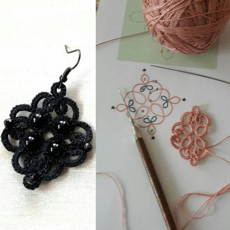 Nausnice,schema #earrings #frivolitky #frivolité #tatting #tattingjewerly #handmade #onyx #