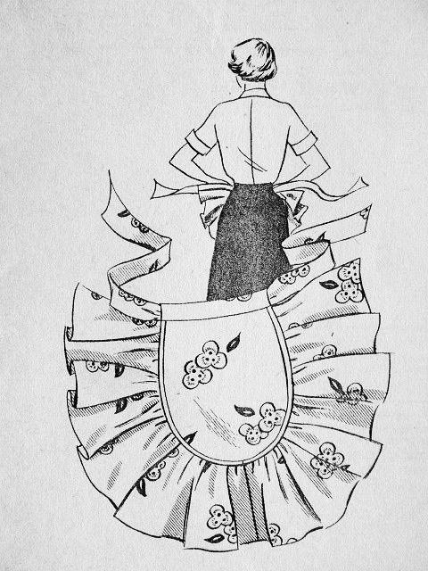 1950s LOVELY HALF APRON PATTERN PERFECT FANCY HOSTESS APRON STYLE