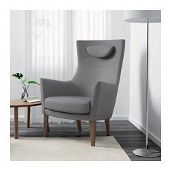 IKEA - STOCKHOLM, Armchair, Röstånga gray, , This chair is made from molded high resilience foam that provides comfort and support – and keeps its shape for years.You can adjust the height of the headrest so it provides just the right comfort and support for you.It's easy to keep your armchair looking fresh and new by washing the removable armrest protectors.This armchair is ideal for sitting and reading because the high back and wide seat make it extra comfortable to curl up in.10-year…