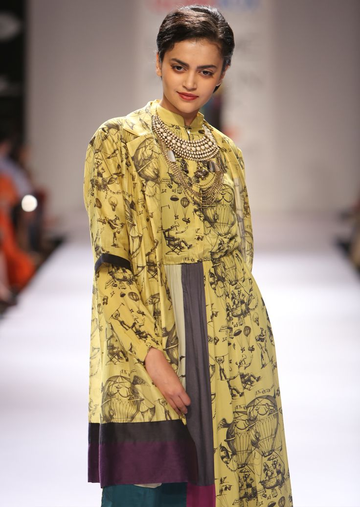 Yellow Balloon Shirt Dress, Yellow Balloon Chanderi Long Jacket, Bombay Balloons AW'14 Collection, Shop the collection from www.thequirkbox.com