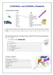 English worksheet: Cardinal / Ordinal Numbers