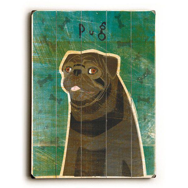 Black Pug by Artist John W. Golden Wood Sign