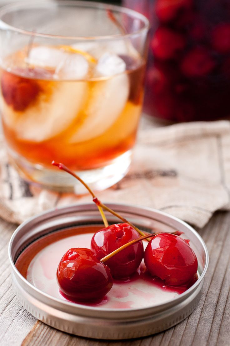 Homemade Cocktail Cherries: These ripe, fresh cherries are jarred in a spiced brandy mixture for a few weeks and perfect in any dark cocktail. So much better than the store-bought bright red version!   macheesmo.com