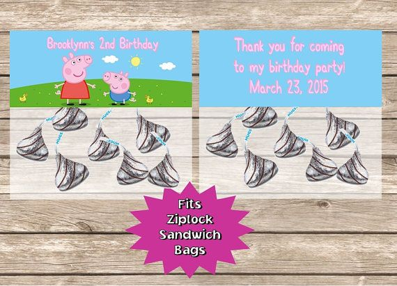 Pegga Pig Birthday Party Goodie Favor Bag Toppers by PartiesByG