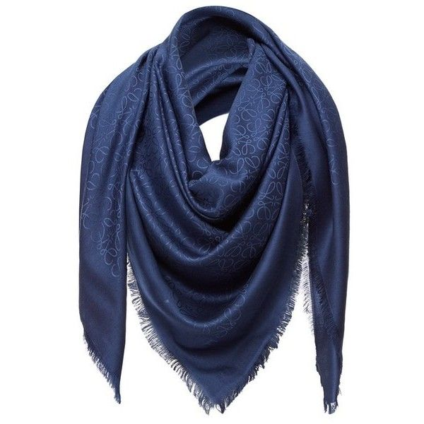 LOEWE 140X140 Shawl Anagram Navy Blue ($650) ❤ liked on Polyvore featuring accessories, scarves, navy, navy blue shawl, navy blue scarves, loewe, shawl scarves and navy scarves