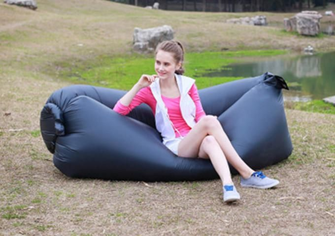Black / ChinaBeach Portable Outdoor Inflatable Bone Furniture Sofa Hammock Sleeping Camping Air Bed Nylon Lazy bed Clean Big