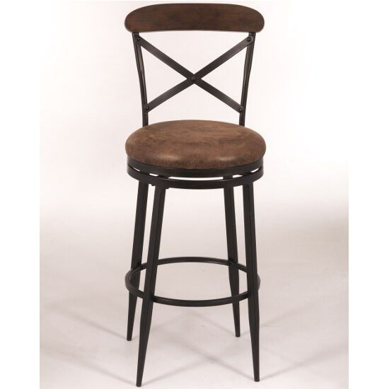 The Henderson Swivel bar Stool features a metal body with wooden seating and upper back support. The legs are straight tapered down while the back features metal diagonal cross. Find other great offers on bar stools as well as free shipping on orders over $99 at KitchenSource.com