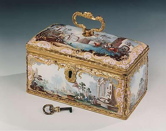 A RARE GEORGE III FITTED ENAMEL TEA CASKET Circa: 1770