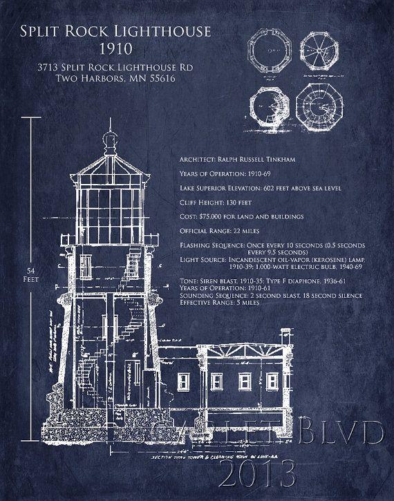 22 best blueprints images on pinterest posters graphics and split rock lighthouse architectural blueprint art print duluth minnesota two harbors lighthouse elevation light station nautical decor malvernweather Images