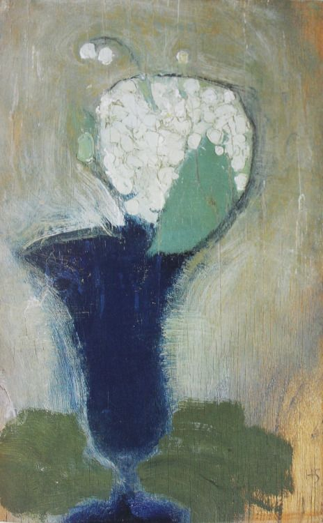 cavetocanvas:  Helene Schjerfbeck,Lilies of the Valley in a Blue Vase II, 1929