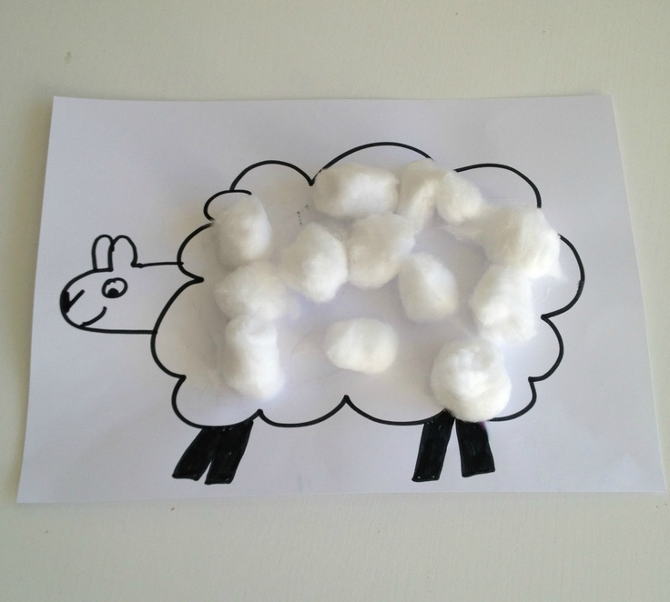 Cotton wool lambs - toddler craft. You could have different animals and different feeling items to glue on to each animal. Have the kid figure out what texture goes to what animal