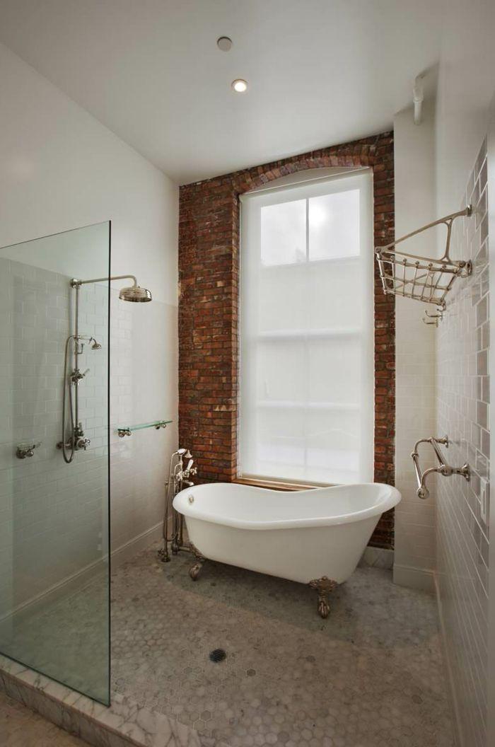 Badezimmer Gestalten Feng Shui Ziegelwand Badewanne