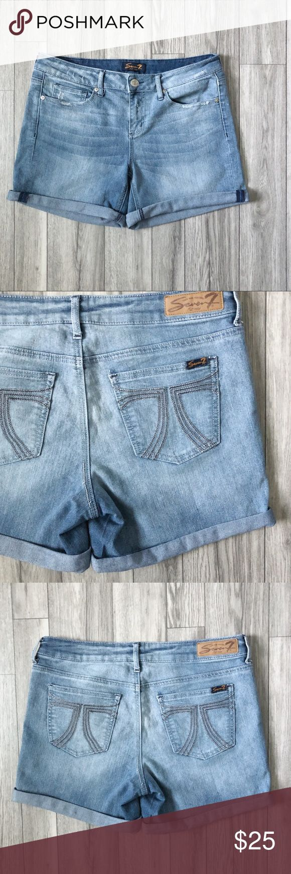 Seven7 Jeans Shorts boyfriend 12 Cuffed This listing is for a great pair of  SEVEN7  jean Shorts that feature cuffed shorts and a stretch fit.  Fabric…