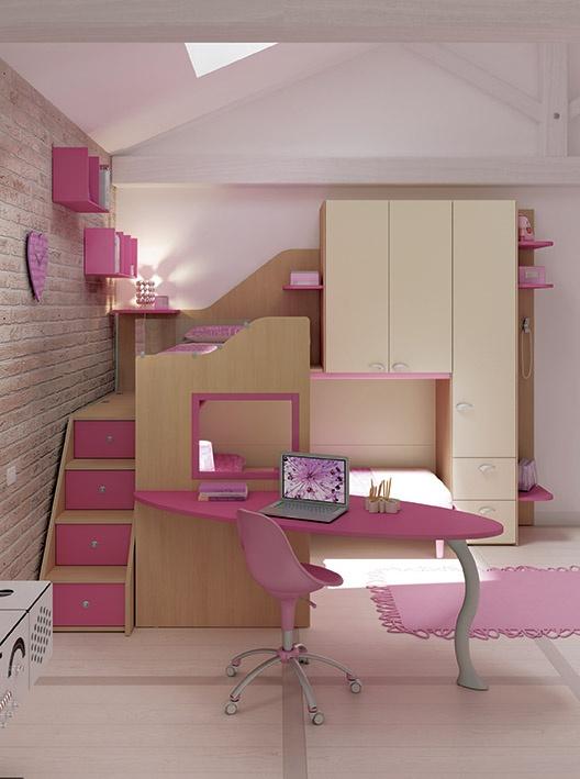 """#Arredamento #Cameretta Moretti Compact: Collezione 2012 """"Team"""" > Kids – Soluzione a #Soppalco >> ks16 #letti #armadio #scrivania #mensole #scala con #cassetti http://www.moretticompact.it/kids.htm"""