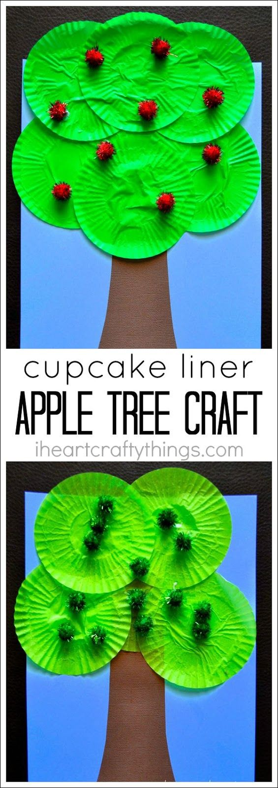 Use green Cupcake Liners to make this cute Apple Tree Craft for kids. A great fall kids craft or for an apple theme.