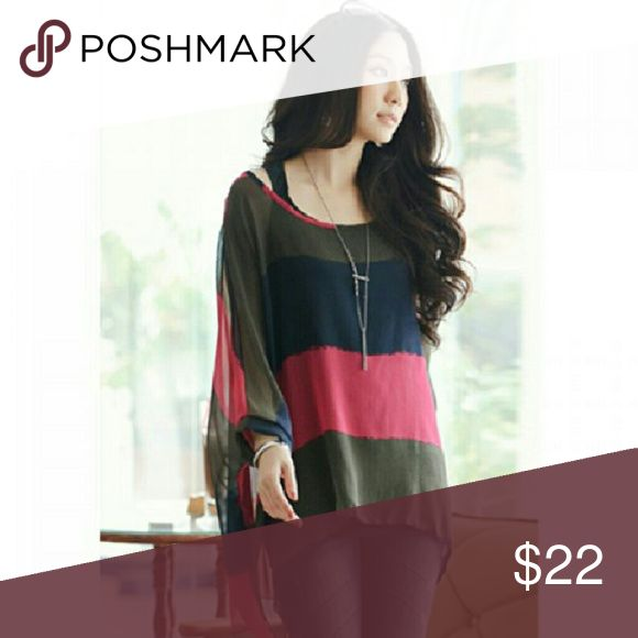 Chiffon Twin Set Polyester cotton blend black tank under light striped flowing blouse. Tops Blouses