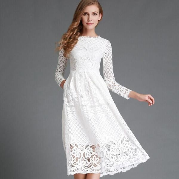 Waistline: EmpireDecoration: Hollow OutMaterial: LaceDresses Length: Mid-CalfNeckline: O-NeckSilhouette: A-LineSleeve Length: FullFabric Type: Lace  How to measure
