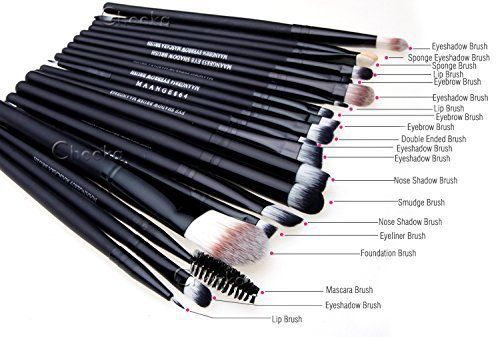 WANGSAURA® Pro Cosmetic Makeup 20pcs Brushes Set Powder Foundation Eye shadow Eyeliner Lip Brush Tool Specifications :  Material: High Quality Goat hair, Nylon material and soft Synthetic  Handle: wood  Size: approx 13cm-16cm length  Length of these Makeup Brushes is between 13.2cm~18.5cm.  Item included: Foundation Powder Brush, Lip Brush, Mascara Brush, Eye shadow Brush, Two Side Brush, Eyebrow Mascara Brush, Sponge Brush, Smudge Brush, Nose Shadow Brush, and Eyeliner Bru