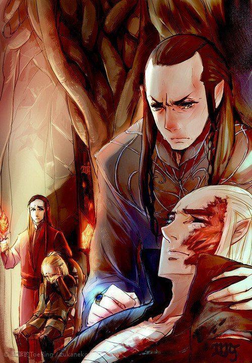 Elrond healing Thranduil...awww...poor little Legolas in the background. :(